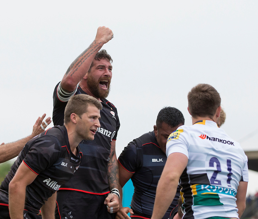 Saracens&rsquo; Jim Hamilton (centre) celebrates his sides second try, after a penalty try was awarded<br /> <br /> Photographer Craig Mercer/CameraSport<br /> <br /> Aviva Premiership - Saracens v Northampton Saints - Saturday 17 September 2016 - Allianz Park - Hendon, London<br /> <br /> World Copyright &copy; 2016 CameraSport. All rights reserved. 43 Linden Ave. Countesthorpe. Leicester. England. LE8 5PG - Tel: +44 (0) 116 277 4147 - admin@camerasport.com - www.camerasport.com