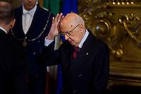 Il Presidente della Repubblica Giorgio Napolitano durante la cerimonia del giuramento del nuovo Governo Letta nel Salone delle Feste del Quirinale.