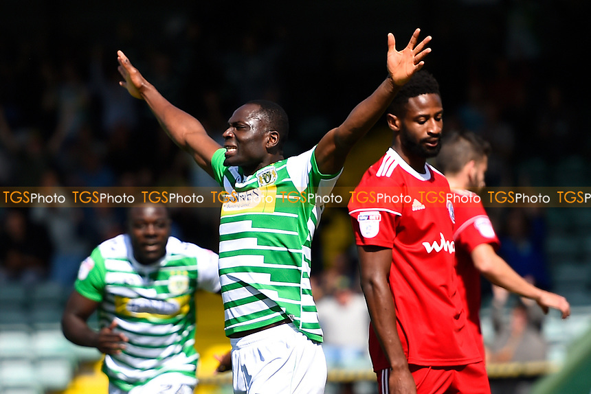 Francois Zoko of Yeovil Town celebrates scoring the second goal as the Accrington Stanley defence looks dejected during Yeovil Town vs Accrington Stanley, Sky Bet EFL League 2 Football at Huish Park on 12th August 2017