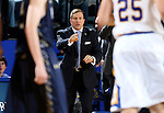 BROOKINGS, SD - NOVEMBER 3:  Head Coach T.J. Otzelberger from South Dakota State gives instruction to his team against the SD School of Mines in the first half of their exhibition game Thursday evening at Frost Arena in Brookings. (Photo by Dave Eggen/Inertia)