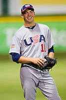 Corey Knebel #11 (Texas) of the USA Baseball Collegiate National Team during the game against the Gastonia Grizzlies at Sims Legion Park on June 30, 2011 in Gastonia, North Carolina.  Team USA defeated the Grizzlies 12-5.  Brian Westerholt / Four Seam Images