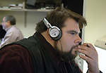 Tom Ferrara editing audio at Newsday Photo Dept in Melville on Tuesday November 14, 2006. (Photo Copyright Jim Peppler 2006).