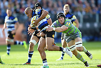 Jonathan Joseph of Bath Rugby is tackled by Mark Wilson of Newcastle Falcons. Aviva Premiership match, between Bath Rugby and Newcastle Falcons on September 23, 2017 at the Recreation Ground in Bath, England. Photo by: Patrick Khachfe / Onside Images
