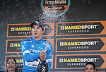 Race leader Michal Kwiatkowski (POL) Team Sky retains the Maglia Azzurra at the end of Stage 6 of the 53rd edition of the Tirreno-Adriatico 2018 running 153km from Numana to Fano, Italy. 12th March 2018.<br /> Picture: LaPresse/Spada | Cyclefile<br /> <br /> <br /> All photos usage must carry mandatory copyright credit (&copy; Cyclefile | LaPresse/Spada)