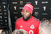 SEATTLE, WA - NOVEMBER 9: Jozy Altidore #17 of Toronto FC talks to the media at CenturyLink Field on November 9, 2019 in Seattle, Washington.