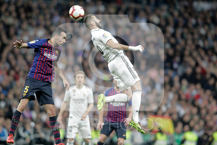 Real Madrid CF's Karim Benzema and FC Barcelona's Sergio Busquets during La Liga match. March 02,2019. (ALTERPHOTOS/Alconada)