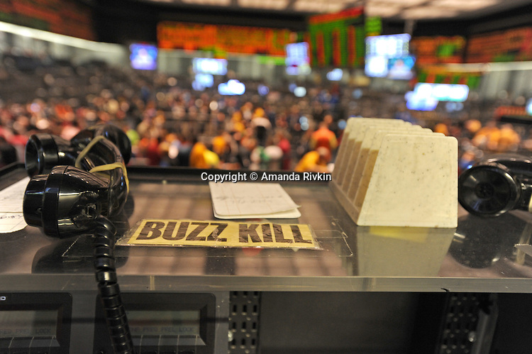 """A sign attached to a desk overlooking the S&P 500 pit at the CME Group reads """"Buzz Kill"""" in Chicago, Illinois on October 10, 2008.   The S&P was down 1.18% Friday."""