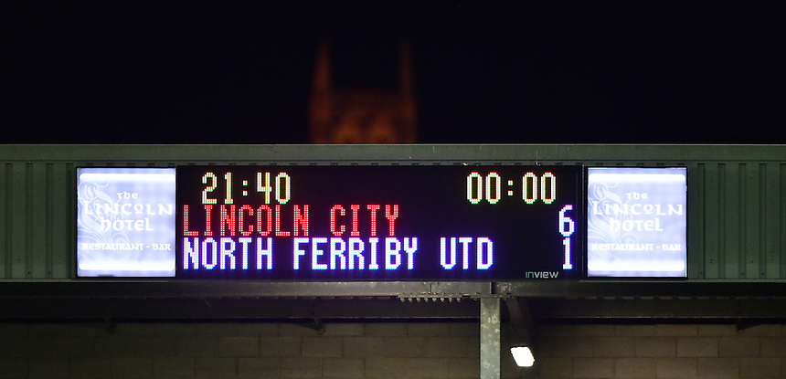 The scoreboard at full time, reading Lincoln City 6, North Ferriby United 1<br /> <br /> Photographer Chris Vaughan/CameraSport<br /> <br /> Football - Vanarama National League - Lincoln City v North Ferriby United - Tuesday 9th August 2016 - Sincil Bank - Lincoln<br /> <br /> &copy; CameraSport - 43 Linden Ave. Countesthorpe. Leicester. England. LE8 5PG - Tel: +44 (0) 116 277 4147 - admin@camerasport.com - www.camerasport.com