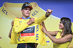 BMC Racing Team win Stage 3, and take the Yellow Jersey with Greg Van Avermaet, of the 2018 Tour de France a Team Time Trial running 35.5km from Cholet to Cholet (35,5km, France. 9th July 2018. <br /> Picture: ASO/Pauline Ballet | Cyclefile<br /> All photos usage must carry mandatory copyright credit (&copy; Cyclefile | ASO/Pauline Ballet)