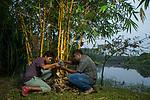 Fishing Cat (Prionailurus viverrinus) biologists, Anya Ratnayaka and Maduranga Ranaweera, setting up camera trap in urban wetland, Urban Fishing Cat Project, Diyasaru Park, Colombo, Sri Lanka