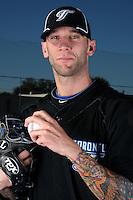 March 1, 2010:  Pitcher Jesse Carlson (39) of the Toronto Blue Jays poses for a photo during media day at Englebert Complex in Dunedin, FL.  Photo By Mike Janes/Four Seam Images