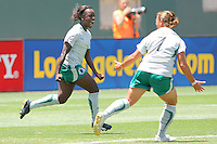 Eniola Aluko #9 of the St. Louis Athletica celebrates scoring a goal against the Los Angeles Sol during their WPS game at The Home Depot Center on July 8,2009 in Carson, California.  St. Louis defeated the Los Angeles Sol 1-0.