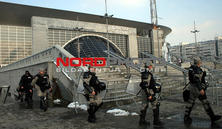 27.01.2012., Belgrade, Serbia - 10th Men's European Handball Championship. Serbian police around Belgrade Arena after the announcement that on the semi final mathes arrives 1000-2000 Croatian fans. <br /> <br /> Foto &copy;  nph / Halopix
