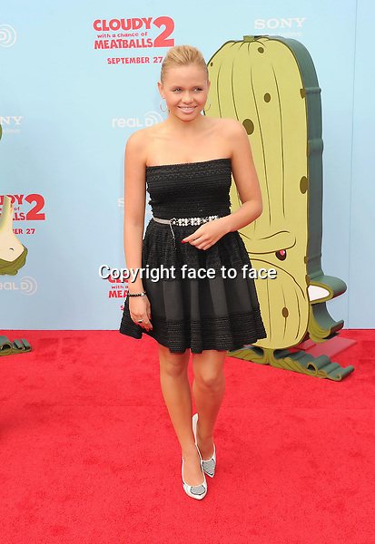 WESTWOOD, CA- SEPTEMBER 21: Actress Alli Simpson arrives at the Los Angeles premiere of 'Cloudy With A Chance Of Meatballs 2' at the Regency Village Theatre on September 21, 2013 in Westwood, California.(Alli Simpson)<br /> Credit: Mayer/face to face<br /> - No Rights for USA, Canada and France -