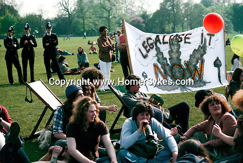 DEMO TO LEGALISE POT, HYDE PARK, LONDON, 1979,
