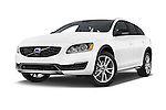 Stock pictures of low aggressive front three quarter view of a 2015 Volvo V60 T5 Cross Country AWD 4 Door Wagon Low Aggressive