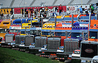 Sept. 19, 2008; Dover, DE, USA; Nascar Sprint Cup Series crew members watch from their haulers during practice for the Camping World RV 400 at Dover International Speedway. Mandatory Credit: Mark J. Rebilas-