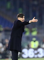 12th January 2020; Stadio Olympico, Rome, Italy; Italian Serie A Football, Roma versus Juventus; Paulo Fonseca coach of AS Roma gets animated on the sideline