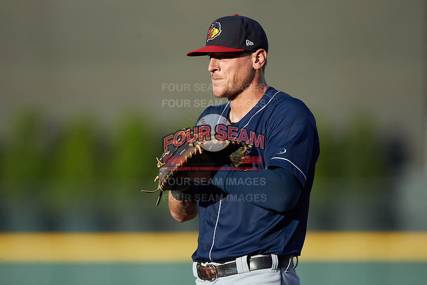 Toledo Mud Hens first baseman Jim Adduci (23) on defense against the Charlotte Knights at BB&T BallPark on June 22, 2018 in Charlotte, North Carolina. The Mud Hens defeated the Knights 4-0.  (Brian Westerholt/Four Seam Images)