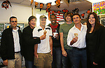 Frank Dicopoulos - Daniel Cosgrove - Lawrence Saint-Victor - Zack Conroy - Kurt McKinney - Guiding Light's actors and Stacy Jo Palas (President and CEO) and husband of Stacy Jo's Ice Cream in McKees Rocks, PA on September 30, 2009. During the weekend of events proceeds from pink ribbon bagel sales at various Panera Bread locations will benefit the Young Women's Breast Cancer Awareness Foundation. (Photo by Sue Coflin/Max Photos)