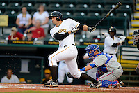 Bradenton Marauders third baseman Chris Lashmet #27 at bat in front of catcher Cam Maron #7 during a game against the St. Lucie Mets on April 12, 2013 at McKechnie Field in Bradenton, Florida.  St. Lucie defeated Bradenton 6-5 in 12 innings.  (Mike Janes/Four Seam Images)
