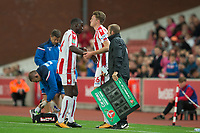 Kurt Zouma of Stoke City is replaced by Harry Souttar of Stoke City during the Carabao Cup match between Stoke City and Rochdale at the Bet365 Stadium, Stoke-on-Trent, England on 23 August 2017. Photo by James Williamson / PRiME Media Images.