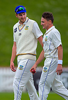 Otago bowlers Jacob Duffy (left) and Nathan Smith on day one of the Plunket Shield cricket match between the Wellington Firebirds and Otago Volts at Basin Reserve in Wellington, New Zealand on Monday, 21 October 2019. Photo: Dave Lintott / lintottphoto.co.nz