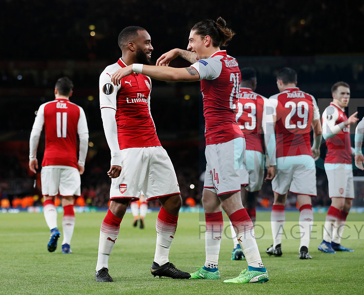 Alexandre Lacazette of Arsenal and Hector Bellerin of Arsenal hug after the first goal during the Europa League Semi Final 1st Leg, match at the Emirates Stadium, London. Picture date: 26th April 2018. Picture credit should read: David Klein/Sportimage