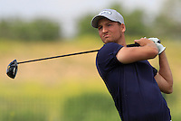 Tobias Nemecz (AUT) on the 1st tee during Round 1 of the Challenge de Madrid, a Challenge  Tour event in El Encin Golf Club, Madrid on Wednesday 22nd April 2015.<br /> Picture:  Thos Caffrey / www.golffile.ie