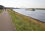 Raised river-bank dyke flood protection River New Maas, Ablasserdam, Netherlands