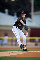 Batavia Muckdogs pitcher Easton Lucas (28) during a NY-Penn League game against the State College Spikes on August 24, 2019 at Dwyer Stadium in Batavia, New York.  State College defeated Batavia 1-0.  (Mike Janes/Four Seam Images)
