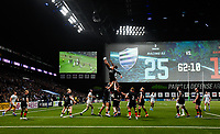 17th November 2019,  Paris La Défense Arena, Hauts-de-Seine, France; Champions Cup Rugby Union, Racing 92 versus Saracens;  the large screen shows the score for the players and crowd