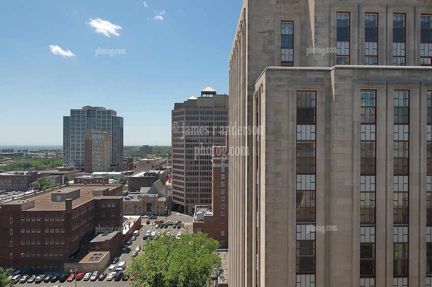 The Eli Apartments (formerly SNET Headquarters) in New Haven CT. Skyline from the roof of the New Haven County JD Courthouse. 360 State Street Building in the distance.