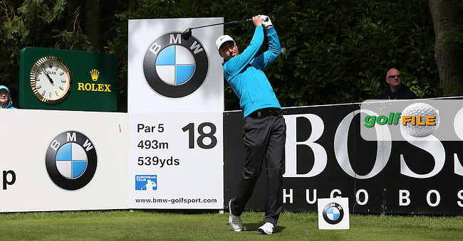 Ross Fisher (ENG) drives the 18th during the Pro-Am ahead of the 2015 BMW PGA Championship over the West Course at Wentworth, Virginia Water, London. Picture David Lloyd, www.golffile.ie: 20/05/2015