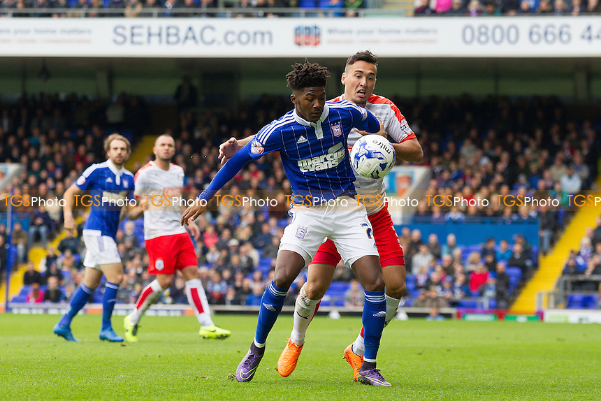 Ainsley Maitland - Niles of Ipswich Town holds of Jason Davidson, Huddersfield Town during Ipswich Town vs Huddersfield Town, Sky Bet Championship Football at Portman Road, Ipswich, England on 17/10/2015