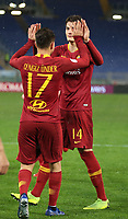 Patrik Schick of AS Roma celebrates with Cengiz Under after scoring a goal <br /> Roma 14-01-2019 Stadio Olimpico<br /> Football Calcio Coppa Italia 2018/2019 Round of 16  <br /> AS Roma - Virtus Entella<br /> Foto Gino Mancini / Insidefoto