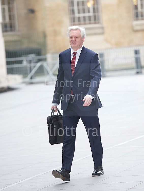 Andrew Marr Show arrivals <br /> BBC, Broadcasting House, London, Great Britain <br /> 12th March 2017 <br /> <br /> <br /> David Davis MP<br /> Secretary of State for Exiting the<br /> European Union<br /> arriving at the Marr Show <br /> <br /> <br /> <br /> <br /> Photograph by Elliott Franks <br /> Image licensed to Elliott Franks Photography Services