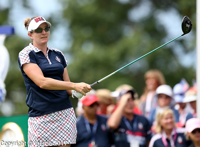 DES MOINES, IA - AUGUST 20: USA's Brittany Lang watches her tee shot on the first hole during her singles match Sunday morning at the 2017 Solheim Cup in Des Moines, IA. (Photo by Dave Eggen/Inertia)