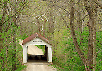 The Marshall Covered Bridge crosses Rush Creek in Spring in Parke County, Indiana