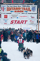 Cim Smyth team leaves the start line during the restart day of Iditarod 2009 in Willow, Alaska