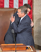 Incoming Speaker of the United States House of Representatives Paul Ryan (Republican of Wisconsin), left, is welcomed to the podium by outgoing Speaker John Boehner (Republican of Ohio), right, as Ryan assumes his duties of the office in the US House Chamber in the US Capitol in Washington, DC on Thursday, October 29, 2015.<br /> Credit: Ron Sachs / CNP