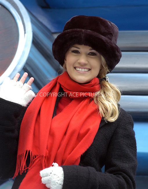 WWW.ACEPIXS.COM . . . . .  ....NEW YORK, NOVEMBER 24, 2005....Carrie Underwood at The Macy's Thanksgiving Parade on Central Park West.....Please byline: PAUL CUNNINGHAM - ACE PICTURES..... *** ***..Ace Pictures, Inc:  ..Philip Vaughan (212) 243-8787 or (646) 769 0430..e-mail: info@acepixs.com..web: http://www.acepixs.com
