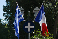 Pictured: The Greek and French flags outside the Presidential Mansion in Athens, Greece. Thurday 07 September 2017<br /> Re: The official welcome of French President Emmanuel Macron for his state visit to Athens, Greece.