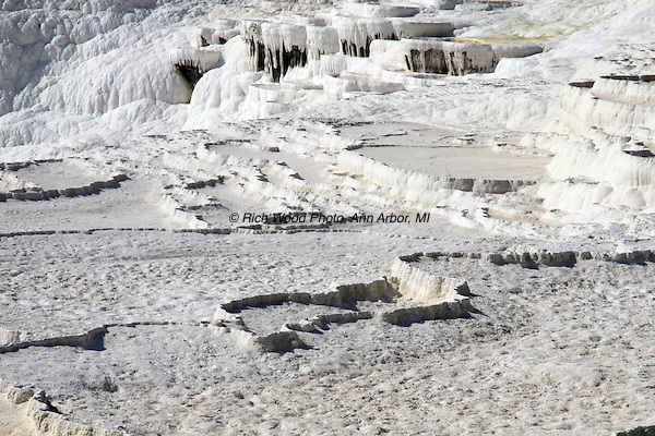 Stepped terraces of travertine deposits at Pamukkale, Turkey