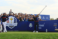Francesco Molinari (Team Europe) on the 9th tee during Friday Fourball at the Ryder Cup, Le Golf National, Iles-de-France, France. 28/09/2018.<br /> Picture Thos Caffrey / Golffile.ie<br /> <br /> All photo usage must carry mandatory copyright credit (© Golffile | Thos Caffrey)