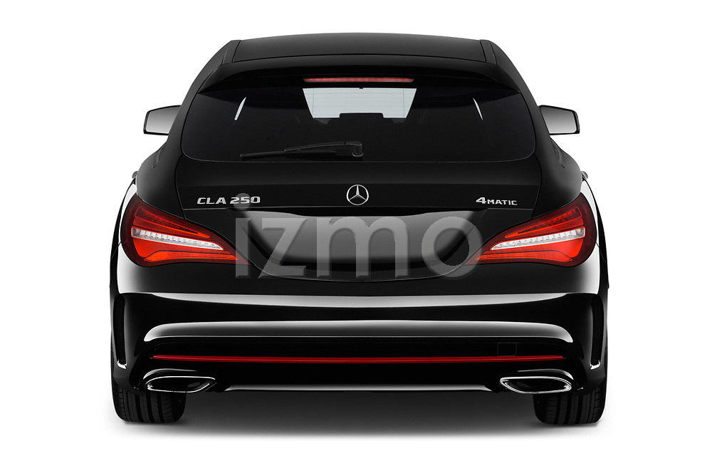 Straight rear view of a 2018 Mercedes Benz CLA Shooting Brake Sport 5 Door Wagon stock images