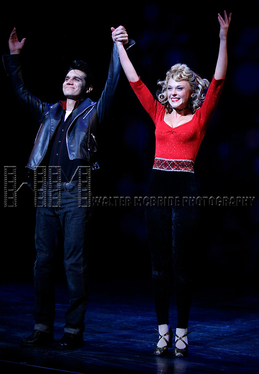 Derek Keeling & Ashley Spencer take a bow during Olivia Newton-John is headed back to Rydell High to promote Breast Cancer Awareness after the Curtain Call for GREASE at the Brooks Atkinsoon Yheatre in New York City. <br />October 7, 2008