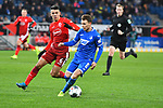 30.11.2019, PreZero-Arena, Sinsheim, GER, 1. FBL, TSG 1899 Hoffenheim vs. Fortuna Duesseldorf, <br /> <br /> DFL REGULATIONS PROHIBIT ANY USE OF PHOTOGRAPHS AS IMAGE SEQUENCES AND/OR QUASI-VIDEO.<br /> <br /> im Bild: Alfredo Morales (#6, Fortuna Duesseldorf) gegen Dennis Geiger (TSG Hoffenheim #8)<br /> <br /> Foto © nordphoto / Fabisch