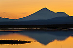 Sunset light over Mount Shasta reflected in Lower Klamath Lake, Lower Klamath National Wildlife Refuge, California
