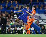 Chelsea's Diego Costa tussles with Manchester City's John Stones during the Premier League match at the Stamford Bridge Stadium, London. Picture date: April 5th, 2017. Pic credit should read: David Klein/Sportimage